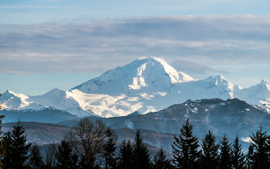 view of mount baker in washington state from the fraser valley
